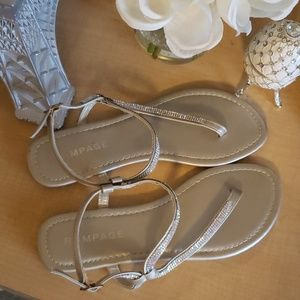 RAMPAGE Light Metallic Gold Crystal Sandals